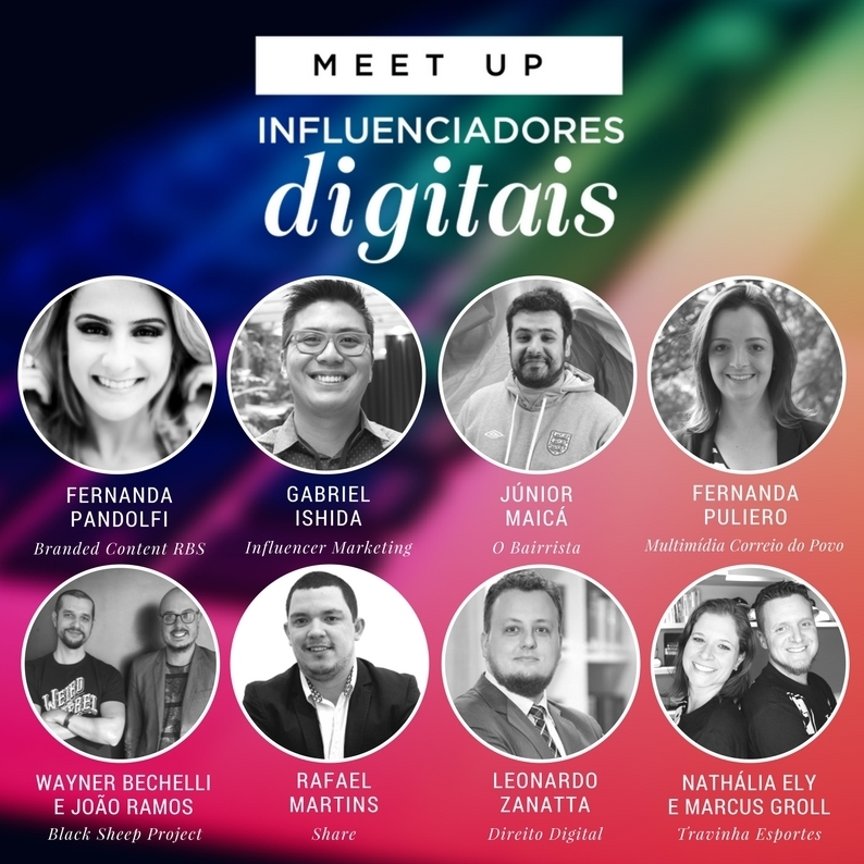Palestrantes Influenciadores Digitais Meet Up 2018