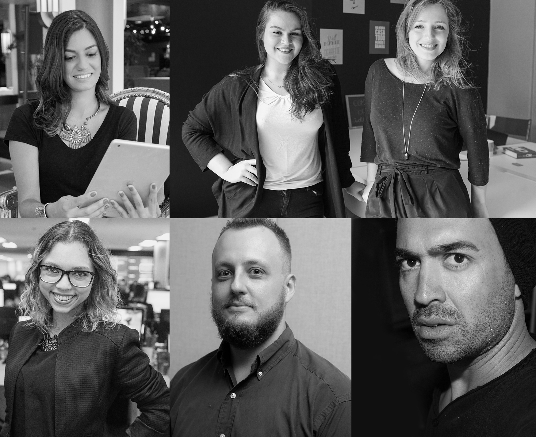 Os ministrantes dos workshops: Andressa Griffante, Camille Bonetto e Amanda Jacobus, Ana Maria Bicca, Leonardo Zanatta e Michel Flores.